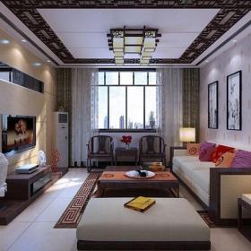 新中式风格客厅沙发背景墙装修效果图新中式风格茶几图片