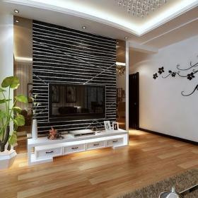 电视背景墙现代风格二居室客厅电视墙效果图