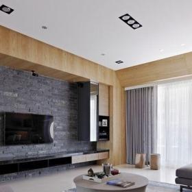 简约客厅仿古砖电视背景墙装修效果图