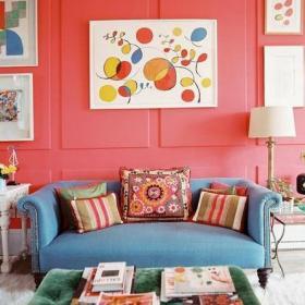 粉色混搭70㎡沙發背景墻小戶型沙發客廳背景墻粉紅背景墻為客廳制造傳奇色彩效果圖大全