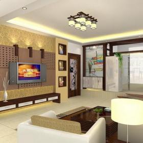 新中式风格客厅家装电视墙造型装修效果图新中式风格沙发图片