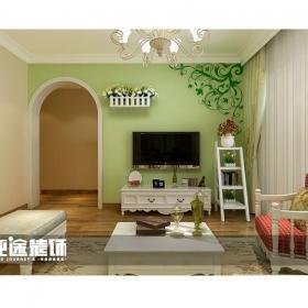 绿色电视背景墙田园风格客厅电视墙装修效果图