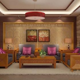 東南亞風格四居室客廳沙發背景裝修效果圖東南亞風格茶幾圖片