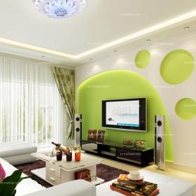 绿色电视柜沙发背景墙客厅沙发客厅背景墙现代风格电视背景墙效果图四