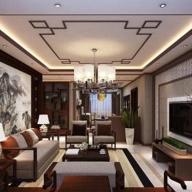 中式风格客厅电视背景墙壁画效果图