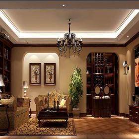 實木茶幾地下室酒柜家具沙發美式別墅酒柜時尚大氣的客廳裝修效果圖
