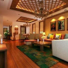 東南亞風格客廳背景墻裝修效果圖東南亞風格墻紙圖片