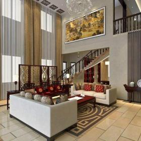 中式风格小复式楼挑高客厅装修效果图中式风格屏风图片