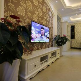 歐式客廳電視組合柜電視背景墻側面效果圖