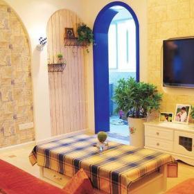 91-120平米三居室地中海风格客厅黄色仿古砖背景墙装修图效果图