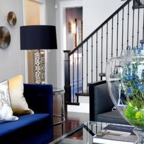 新古典风格客厅三层小别墅古典中式别墅楼梯效果图
