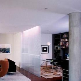 开放式书房客厅隔断实用磨砂玻璃隔断设计效果图