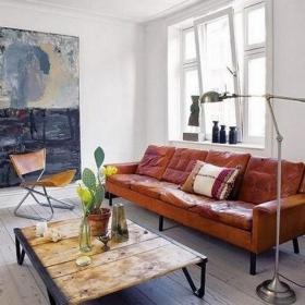 單身公寓沙發茶幾北歐風格客廳空間里的做舊家私效果圖
