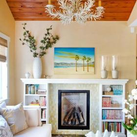 清新吊頂背景墻單身公寓吊頂客廳背景墻很窩心的客廳布局設計效果圖欣賞