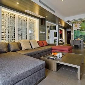120㎡茶幾背景墻大戶型客廳沙發家居裝飾處處透漏著中式氛圍效果圖欣賞