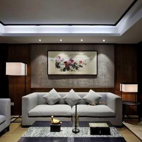 中式风格客厅防水石膏板效果图