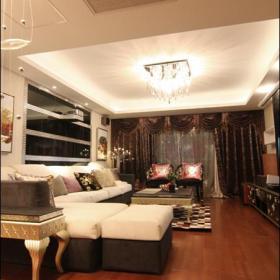 整体客厅方形水晶灯吊顶效果图