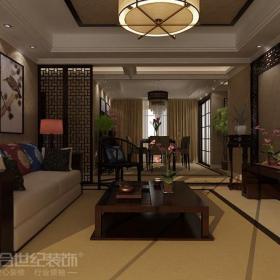 装?#20301;?#22681;面装饰吊灯电视柜茶几新中式风格三居室客厅墙面装饰装修效果图新中式风格沙发图片