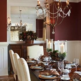 乡村别墅欧式风格客厅三层独栋别墅欧式奢华客厅与餐厅灯图片效果图