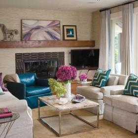 簡歐溫馨宜人的客廳沙發壁爐裝修效果圖