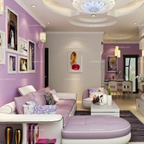 跃层单身公寓三居大户型复式楼小户型银、紫色打造现代风格客厅家装效果图