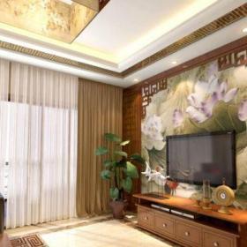 中式风格四居室客厅窗帘装修效果图欣赏