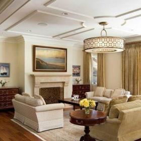 欧式客厅石膏板吊顶装修图片效果图