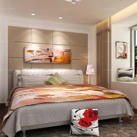 婚房布置上用品床客廳背景墻唯美現代風格小戶型臥房裝修效果圖