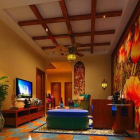 家居擺件電視背景墻吊燈家具東南亞吊頂電視柜90㎡三居東南亞風格客廳電視背景墻裝修效果圖東南亞風格客廳