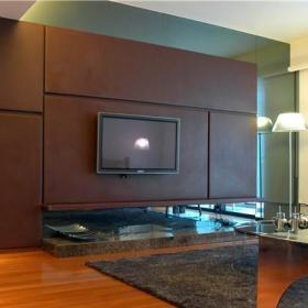 现代简约小户型客厅电视背景墙装修图大全效果图