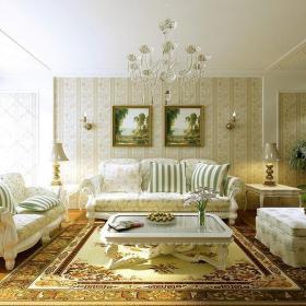 装饰画简欧茶几地毯客厅吊灯四居客厅沙发背景墙壁纸装修效果图