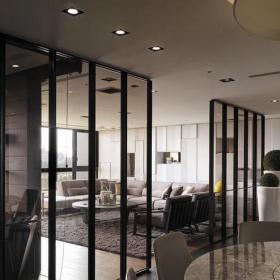 大客厅家居玻璃隔断门图片效果图
