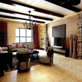 吊頂東南亞風格三居客廳電視背景墻裝修效果圖東南亞風格沙發圖片