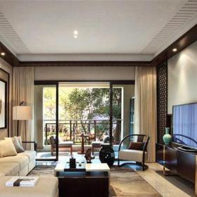 新中式风格别墅客厅背景墙装修效果图