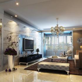 電視背景墻歐式風格客廳電視墻裝修效果圖歐式吊頂圖片