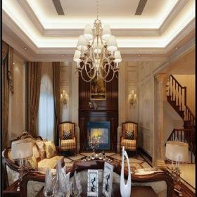 欧式与中式混搭风格别墅客厅装修图片欣赏效果图
