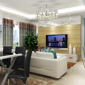 灯饰背景墙80㎡单身公寓客厅客厅背景墙时尚现代风格居家设计,融入浪漫蓝调效果图