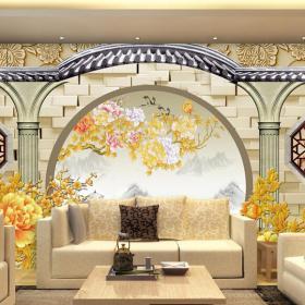 3d背景墻沙發背景墻沙發客廳茶幾抱枕現代風格立體背景墻裝修效果圖