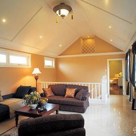 东南亚灯饰吊顶跃层沙发茶几交错美感为阁楼客厅全全包装装修效果图