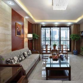 新中式风格客厅阳台装修效果图新中式风格实木茶几图片