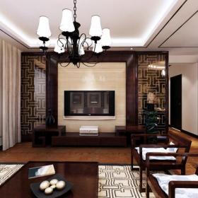 ?#30340;?#33590;几吊灯椅凳客厅吊顶新中式风格客厅电视背景墙装修效果图新中式风格?#30340;?#30005;视柜图片