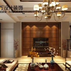 中式风格别墅客厅壁纸装修效果图大全
