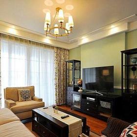 中式古典二居室客厅窗帘装修效果图欣赏
