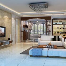 现代简约风格客厅石材背景墙装修效果图
