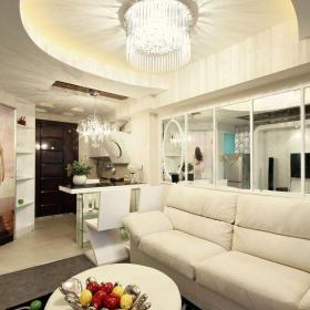 混搭客厅混搭复式130㎡白色客厅沙发装修效果图