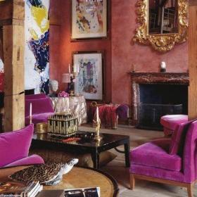 紫色背景墙120㎡别墅客厅背景墙重口味欧式客厅设计效果图