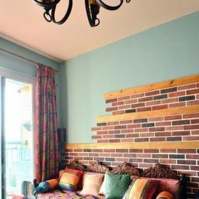波西米亚风格客厅仿古砖背景墙效果图