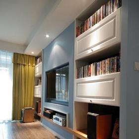 10-15萬簡約風格公寓富裕型120平米客廳電視背景墻書架效果圖