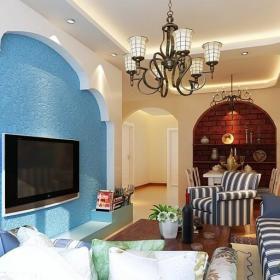 地中海风格电视背景墙效果图 蓝色客厅电视背景墙效果图