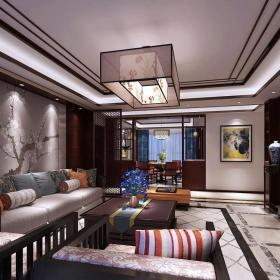 中式客厅手绘墙贴效果图大全